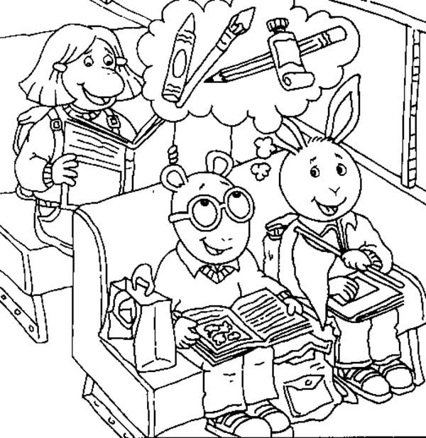 Arthur, : Arthur Think About Painting Equipment Coloring Page