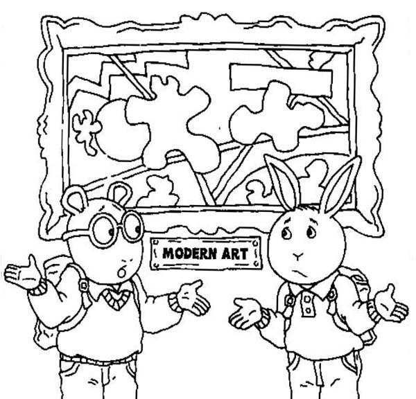 Arthur, : Arthur and Buster Dont Understand the Modern Art Coloring Page