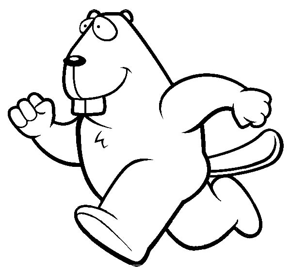 Beaver, : Athletic Marathon Runner Beaver Coloring Page