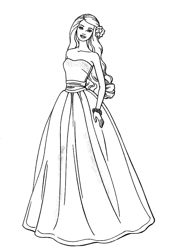 Barbie Doll, : Awesome Barbie Doll Coloring Page