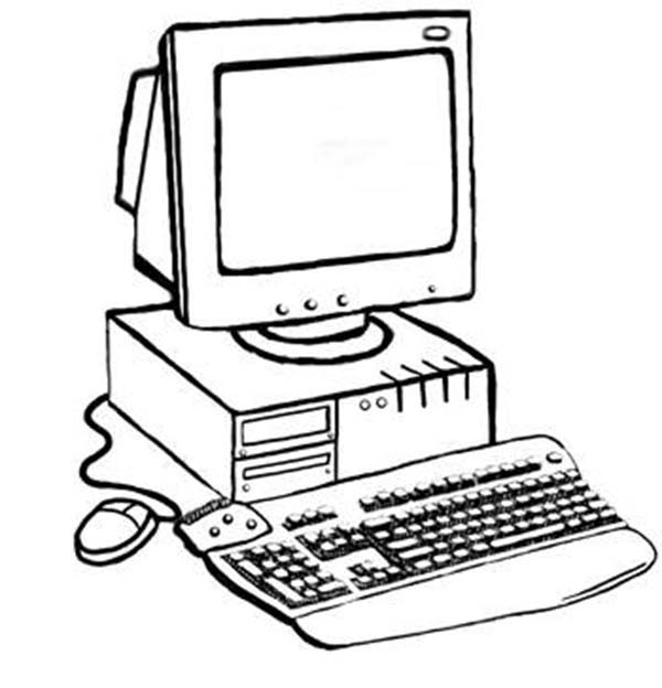 Computer, : Awesome Computer Coloring Page