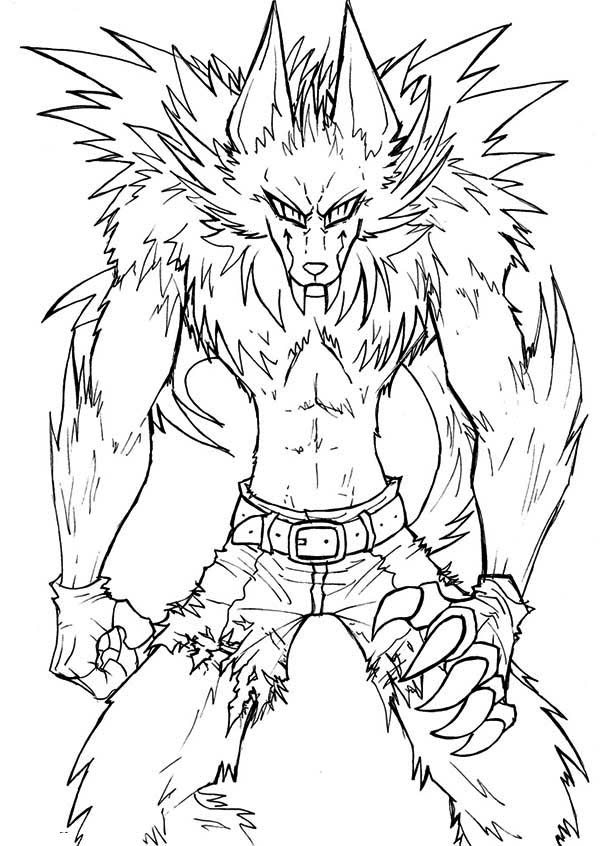 Werewolf, : Awesome Drawing of Werewolf Coloring Page