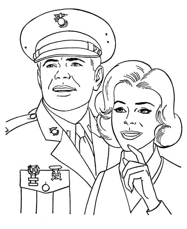 Armed Forces Day, : Awesome Picture of American Soldier and US Navy Nurse in Armed Forces Day Coloring Page