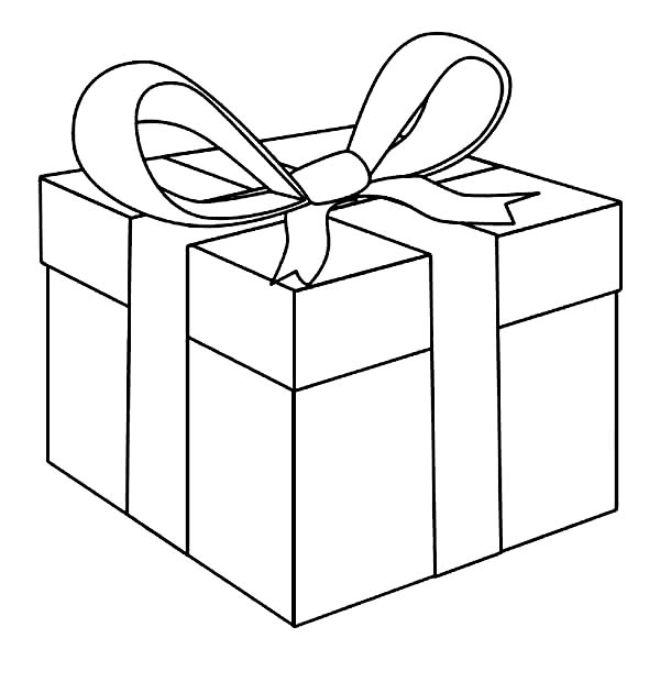 Box, : Awesome Present Box Coloring Page