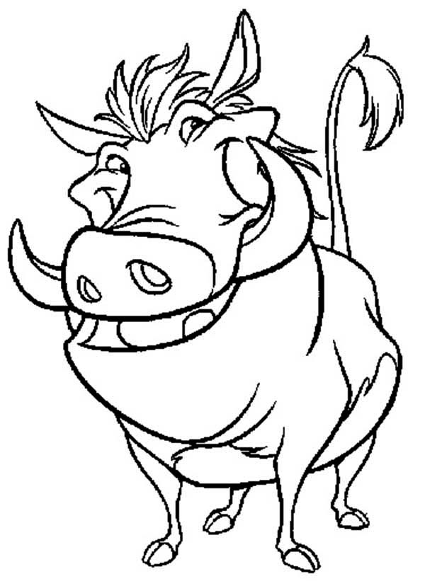 Timon and Pumbaa, : Awesome Pumbaa in Timon and Pumbaa Coloring Page