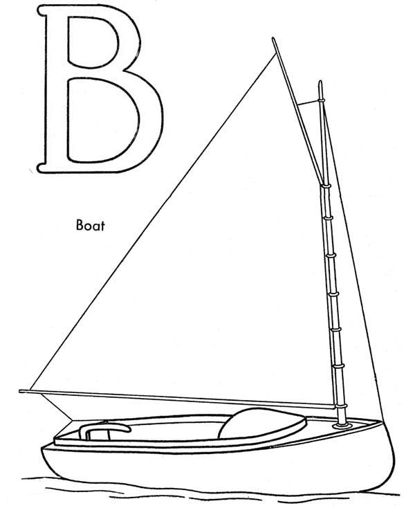 Boat, : B is for Boat Coloring Page