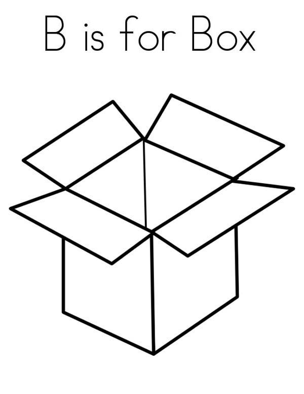 Box, : B is for Box Coloring Page