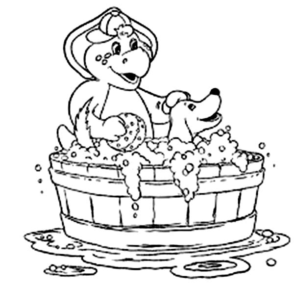 Barney and Friends, : BJ Bathe His Pet in Barney and Friends Coloring Page