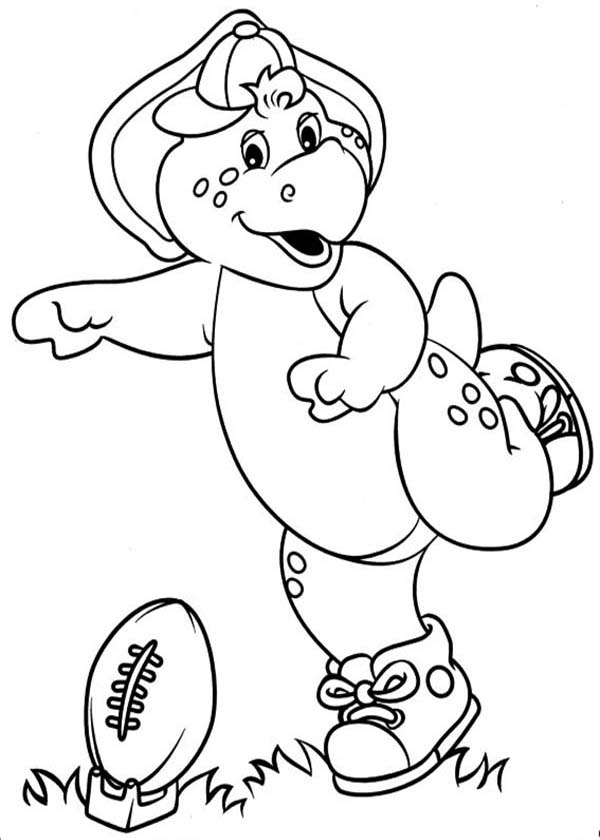 Barney and Friends, : BJ Playing Football in Barney and Friends Coloring Page