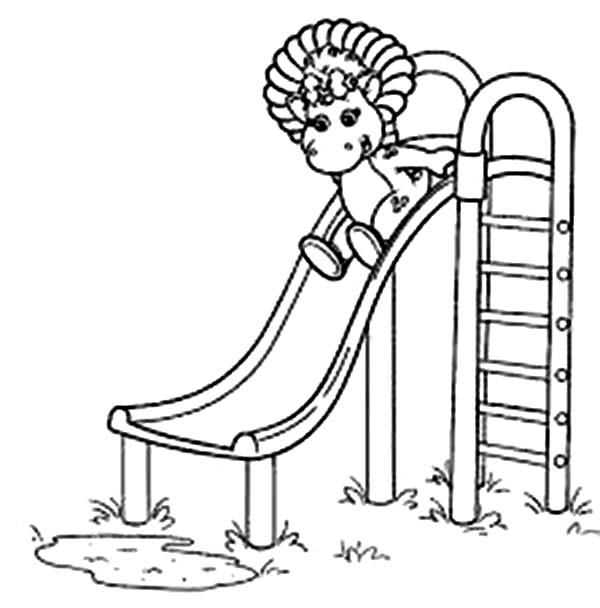 Barney and Friends, : Baby Bop Play Slide in Barney and Friends Coloring Page