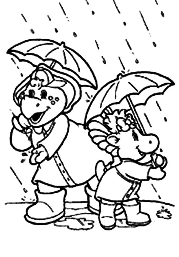 Barney and Friends, : Baby Bop and BJ Using Umbrella in Rainy Day in Barney and Friends Coloring Page