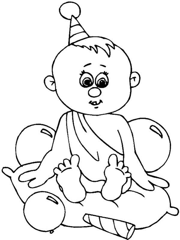 Baby, : Baby Boy Birthday Coloring Page