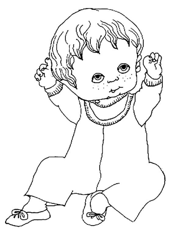 Baby, : Baby Coloring Page for Kids