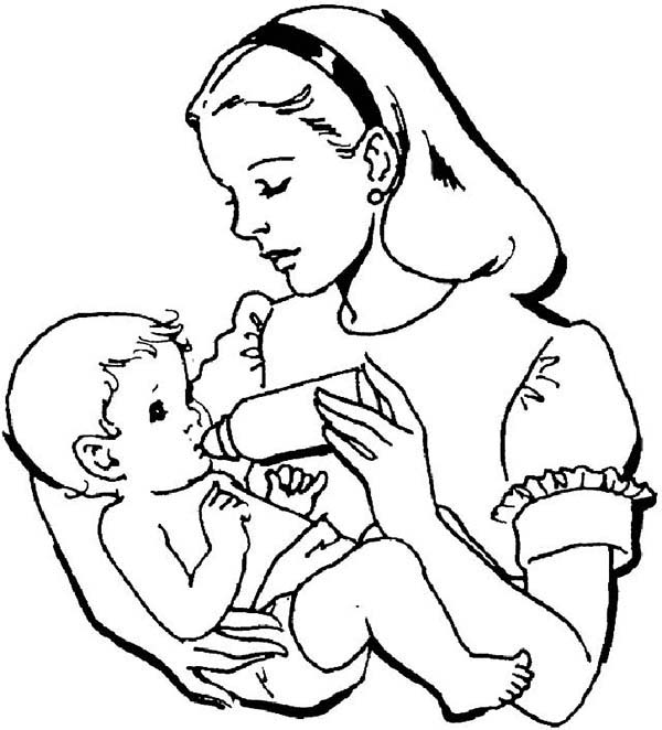 Baby, : Baby Drink Milk from Bottle Coloring Page