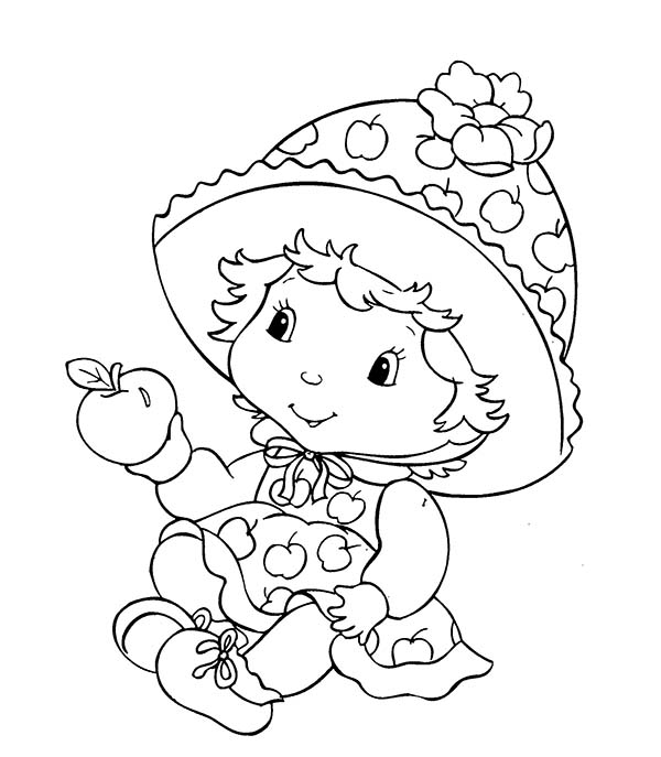 Baby, : Baby Girl Has an Apple Coloring Page