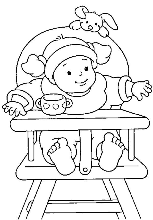 Baby, : Baby Girl Sitting on Her Own Chair Coloring Page