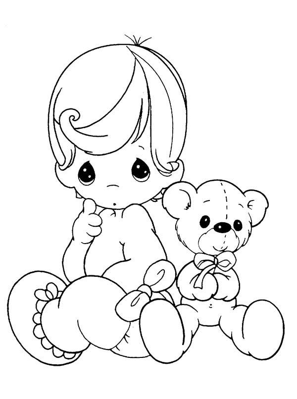 Baby, : Baby Precious Moments with Her Teddy Bear Coloring Page