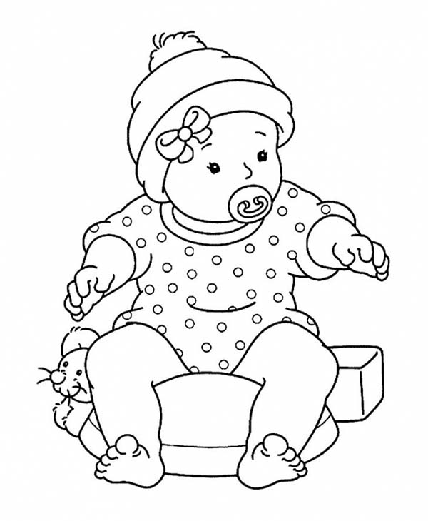 Baby, : Baby Sitting on Mouse Pillow Coloring Page