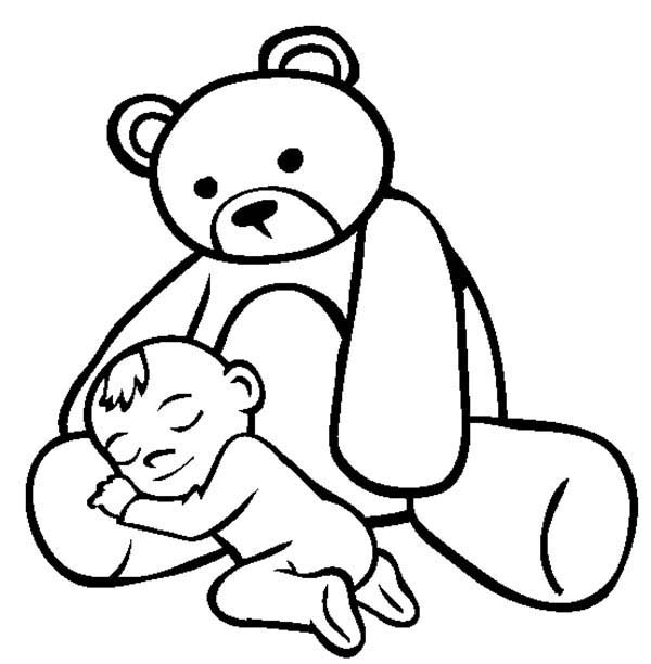 Baby, : Baby Sleeping on Lap of Teddy Bear Coloring Page
