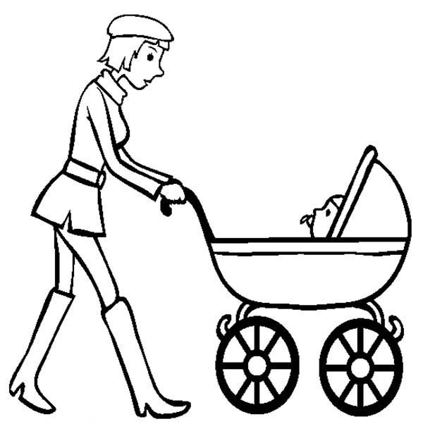 Baby, : Baby in Stroller Wander Around with Mom Coloring Page