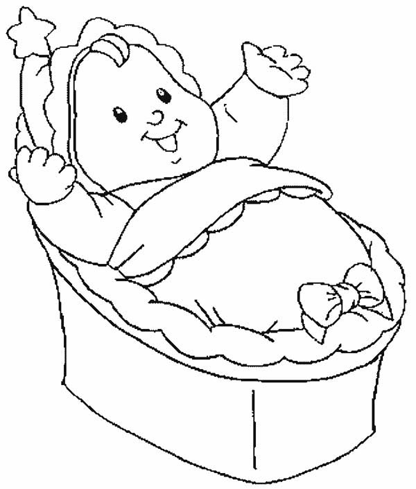 Baby, : Baby in a Manger Coloring Page