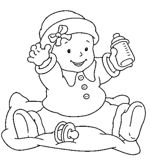 Baby, : Baby is so Happy She Got Milk Coloring Page