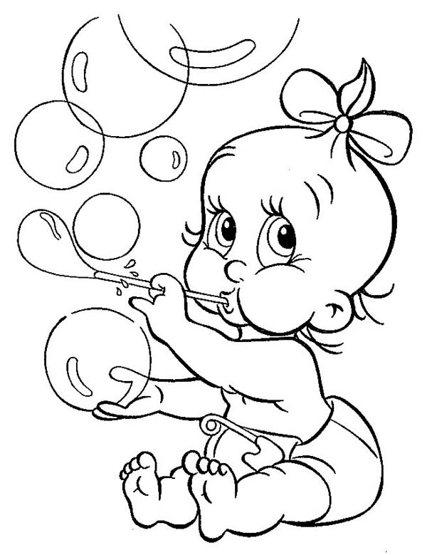 Baby, : Baby with Ribbon Blowing Bubbles Coloring Page