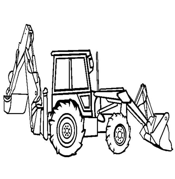 Construction, : Backhoe Loader on Construction Work Coloring Page