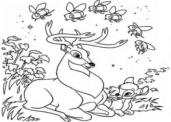 Deer, : Bambi and Roe Deer Talking Coloring Page