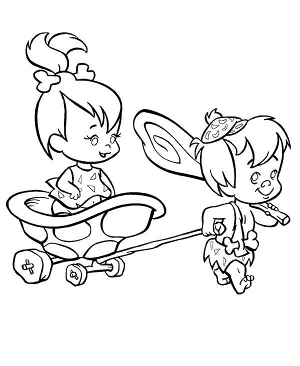 The Flintstones, : Bamm Bamm Pull Pebbles on the Cart  in the Flintstones Coloring Page