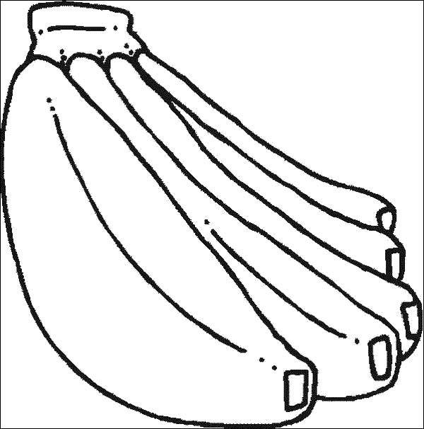 Banana, : Banana Bunch Coloring Page