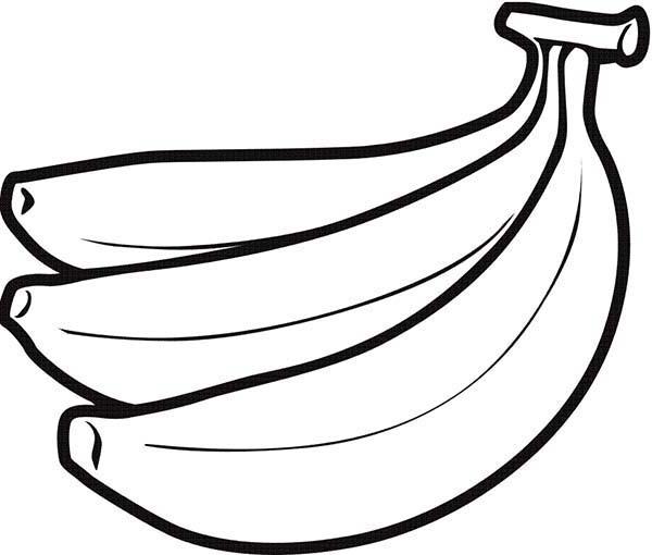 Banana, : Banana Fruit Coloring Page
