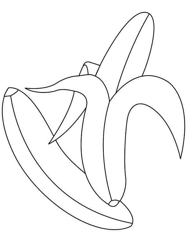 Banana, : Banana for Dessert Coloring Page