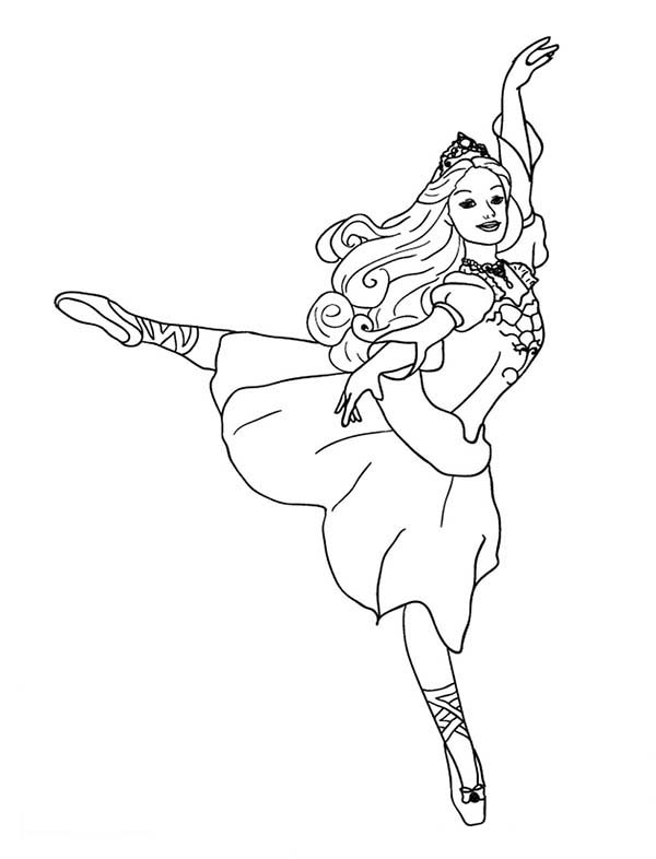 Dance, : Barbie Dancing Coloring Page
