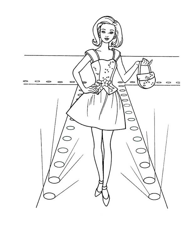 Barbie Doll, : Barbie Doll Fashion Show Coloring Page