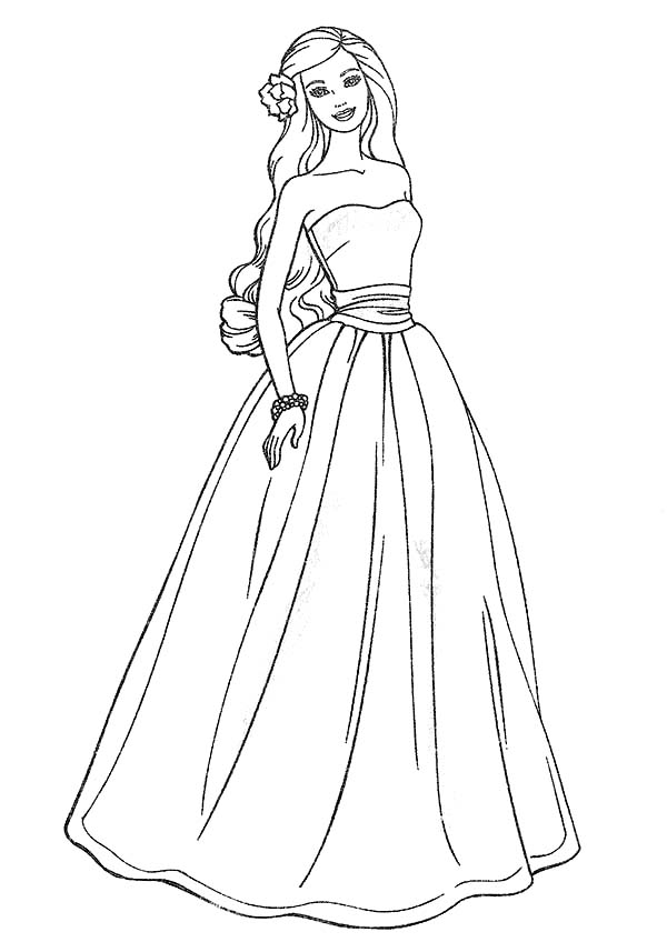 Barbie Doll, : Barbie Doll Wears a Beautiful Gown Coloring Page
