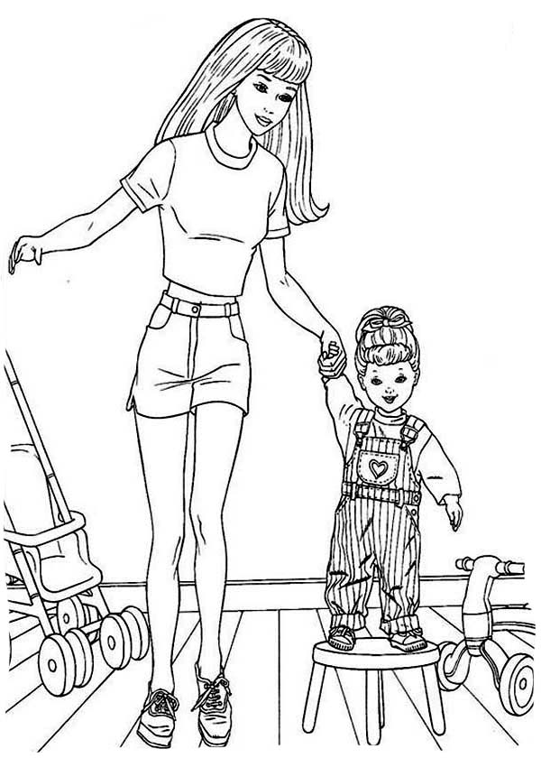 Barbie Doll, : Barbie Doll with Her Daughter Coloring Page