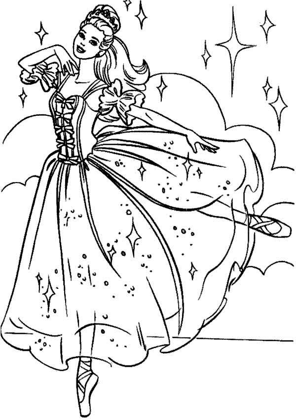 Dance, : Barbie Princess Amazing Dance Coloring Page