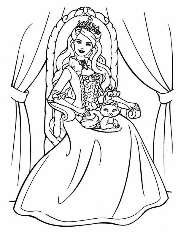 Barbie Princess, : Barbie Princess Cat Sitting on Her Throne Coloring Page