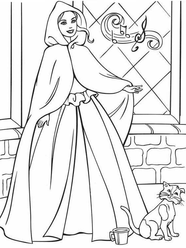 Barbie Princess, : Barbie Princess Cat Sneaking from Palace Coloring Page