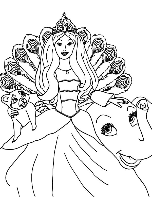 Barbie Princess, : Barbie Princess Island and Her Pet Coloring Page