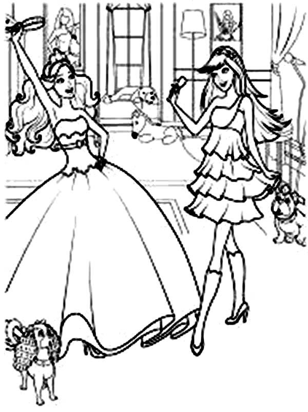 Barbie Princess, : Barbie Princess Practice Dancing Coloring Page
