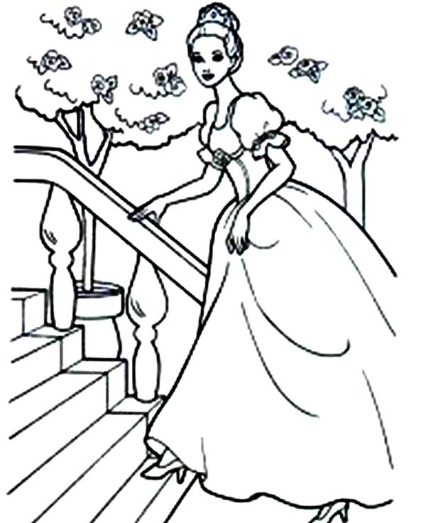 Barbie Princess, : Barbie Princess Step on the Stair Coloring Page