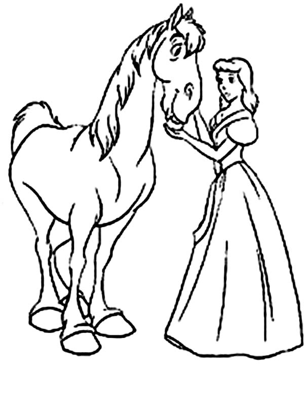 Barbie Princess, : Barbie Princess Taking Care of Her Horse Coloring Page