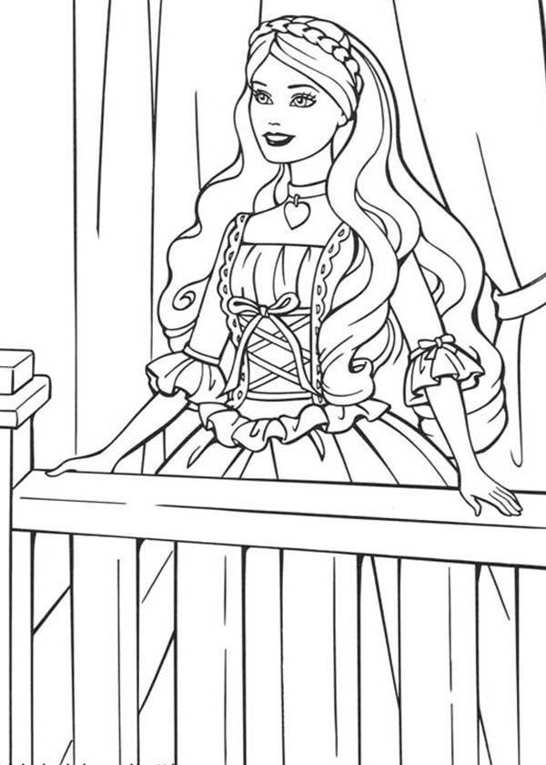 Barbie Princess, : Barbie Princess Waiting for White Knight Coloring Page