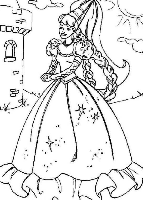 Barbie Princess, : Barbie Princess Walking Around Outside the Castle Coloring Page