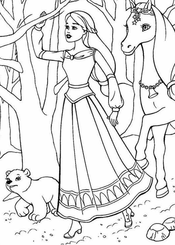 Barbie Princess, : Barbie Princess Wander in the Wood Coloring Page