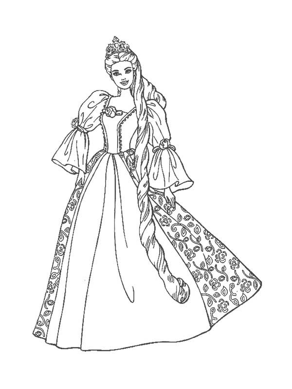 Barbie Princess, : Barbie Princess Wearing Awesome Gown Coloring Page