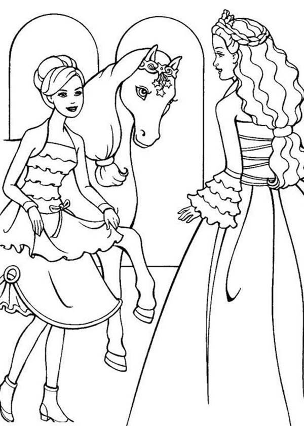 Barbie Princess, : Barbie Princess Would Like to Ride Her Horse Coloring Page