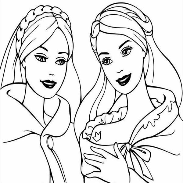 Barbie Princess, : Barbie Princess and Her Best Friend Coloring Page